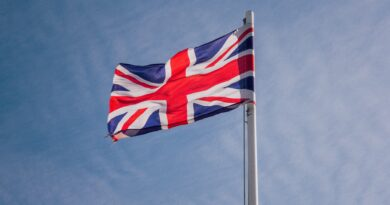 Flag of United Kingdom waiving in the wind